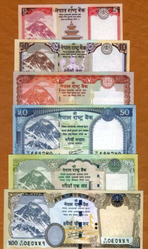 SET Nepal, 5;10;20;50;100;500 Rupees 2012-2017 P-New, UNC Everest Animals