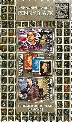 Central African Rep 2015 MNH Penny Black 175th Europhilex London 3v M/S Stamps