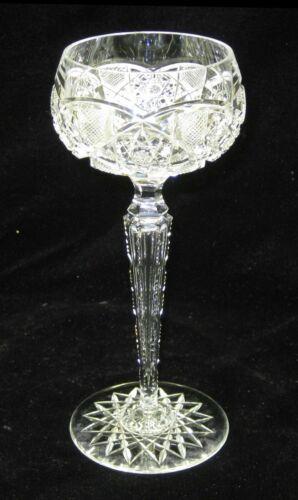 Tall Cut Glass Crystal Wine Glass with Teardrop Stem
