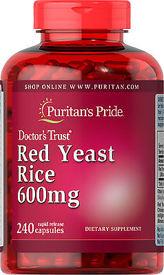 Puritans Pride Red Yeast Rice 600Mg 240 Capsules   Exp 6 2021   Fast Shipping