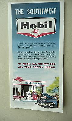 1962 Southwest United States Mobil Oil Gas Road Map Texas Oklahoma Nm Louisiana
