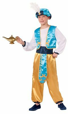 Arabian Prince Child Costume Boys Aladdin Sultan Genie Gold Blue Pants Hat Top