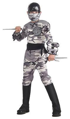 Arctic Camo Ninja Warrior Fighter Halloween Deluxe Child - Camo Ninja Kostüme