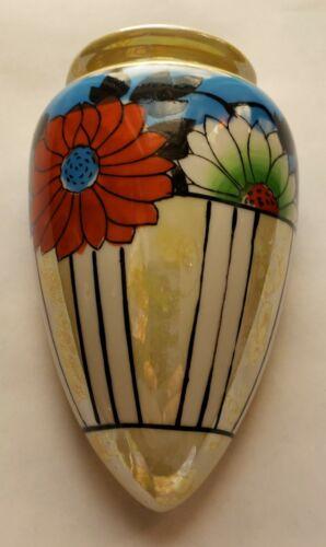 Vintage Floral Lustreware Wall Pocket Japan Hotta Yu Shoten Ceramic Vase Flowers