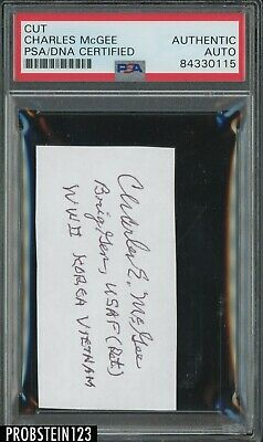 WORLD WAR 2 HERO CHARLES MCGEE TUSKEGEE AIRMAN SIGNED/AUTO CUT PSA/DNA CERTIFIED