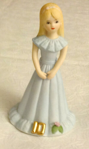 Growing Up Birthday Girls Figurine Age 10 Enesco 1981 Blue Dress Blonde Hair