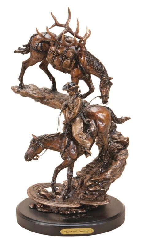 DEMDACO Marc Pierce Last Creek Crossing Cowboy with Horses Bronze Sculpture