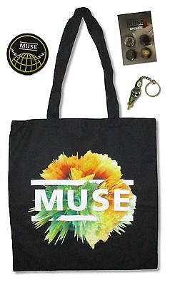 Muse Tote Bag, Button Set, Keychain + Patch Logo 4 Piece Gift Set New -