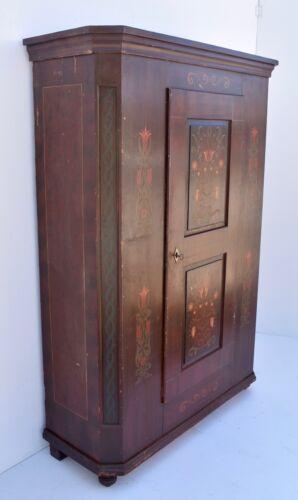 Antique Pine Folk Art Painted Armoire