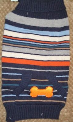 Dog sweater Handsome blue multi bone pocket  NEW, size Small Good Looking!