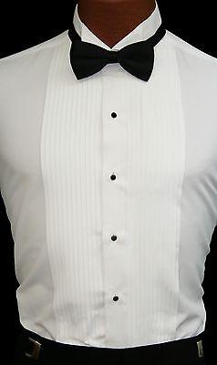 Collar White Shirt - White Traditional Tuxedo Shirt Laydown or Wing Collar Prom Wedding 15 16 17 18