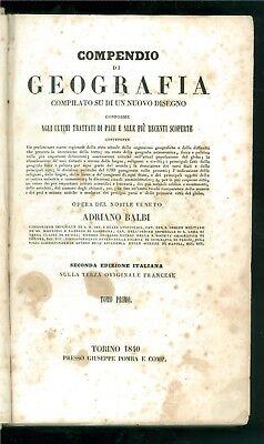 BALBI ADRIANO COMPENDIO DI GEOGRAFIA POMBA 1840 2 VOLUMI