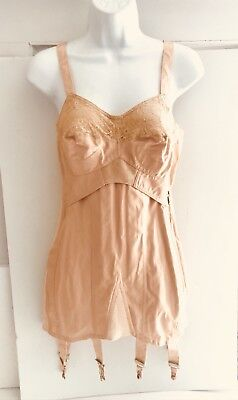 VTG 40s PEACH CORSET GIRDLE LACE BRA w/ BONING STAYS ELASTIC PANELS w 6 GARTERS