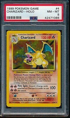 PSA 8 CHARIZARD 1999 Pokemon Base Unlimited #4/102 Holo Non-Shadowless NM-MINT