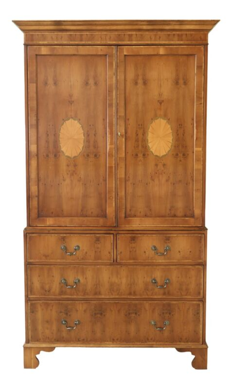 32137EC: BEVAN FUNNEL English Yew Wood Linen Press Cabinet