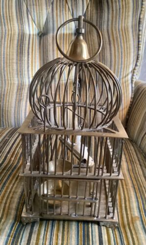 VINTAGE SOLID BRASS DOMED BIRD CAGE Birdcage swing