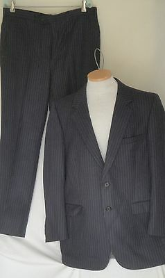 1970s Vintage Halston Navy Blue Pin Stripe Wool Suit C44