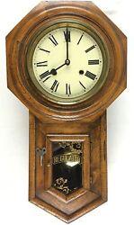 Vintage Regulator Wall Clock w/ Wind-Up Key / Chime / Pendulum