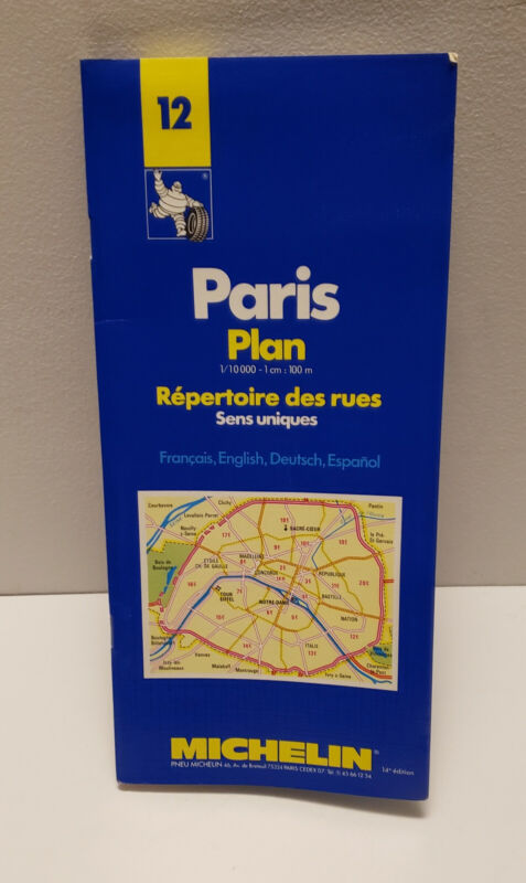 Michelin Paris Plan Map 12/10 1995/1996 Includes Metro Map