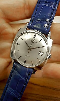 Vintage ULYSSE NARDIN WATCH Swiss Automatic Genuine Blue Alligator Strap Anchor