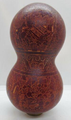 Vintage Intricate Hand Carved Gourd Storyteller Signed Simeon Limaylla