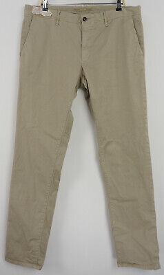 New Incotex Men's 38 x 34 Tan Twill Cotton Flat Front Classic Casual Chino Pants