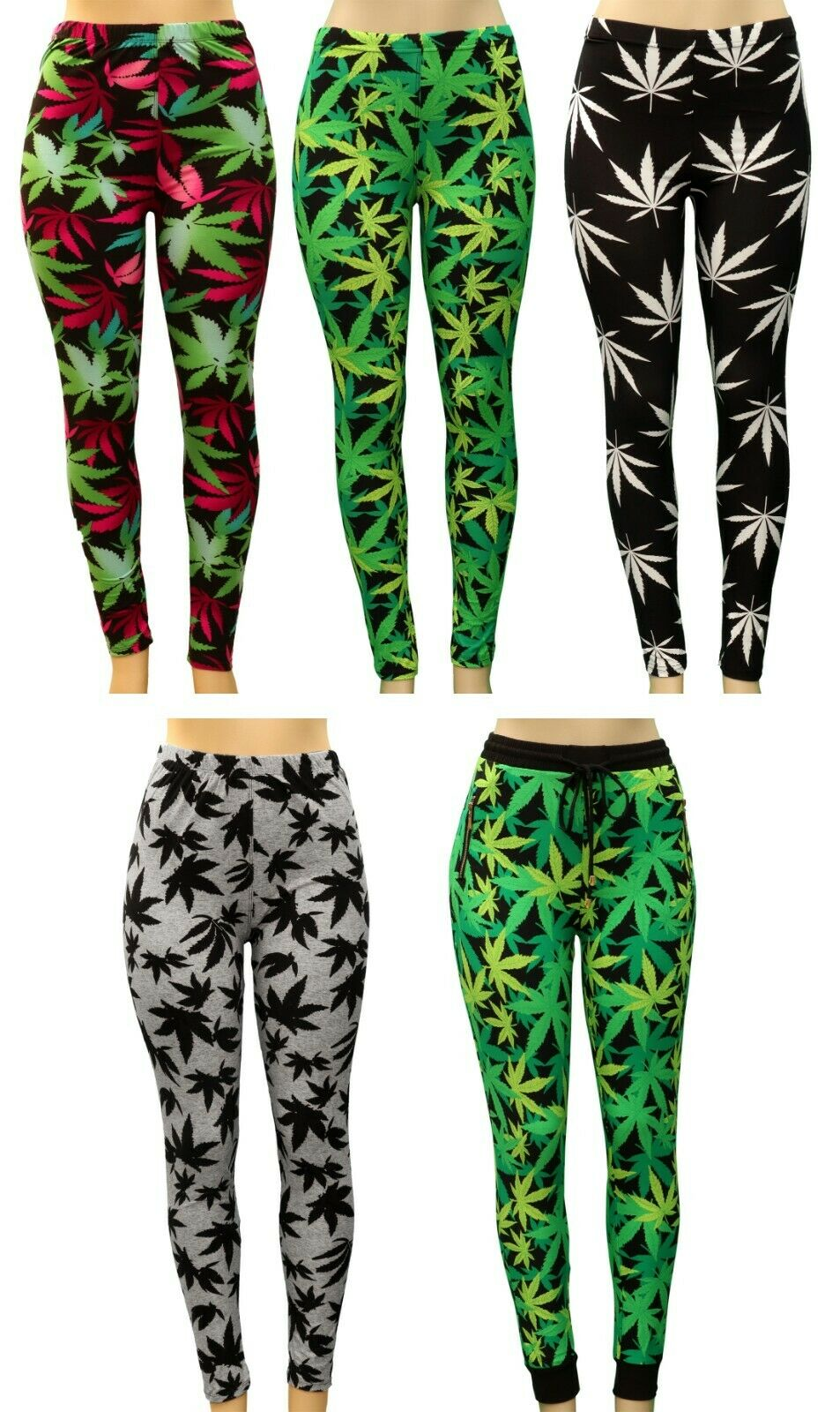 Women Plant Hemp Weeds Marijuana LUCKY Maple Leaf Punk Skinny Stretch Leggings Clothing, Shoes & Accessories