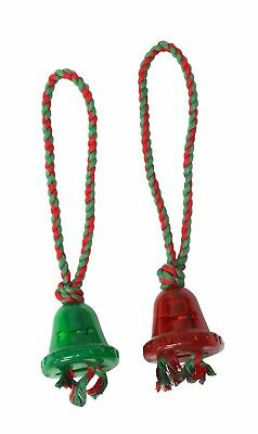 Armitage Dog Christmas Ding Dong Bell Squeaky Toy Rubber Rope Assorted Festive  ()