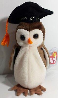 "TY Beanie Babies ""WISE"" Class of 1998 Graduation OWL Bird - MWMTs! RETIRED! GIFT"