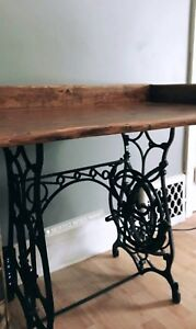 Antique cast iron sewing machine base desk w/ live edge