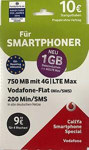 Vodafone D2 Smartphone Special 10€ Guthaben SIM Karte Prepaid CallYa Call Ya