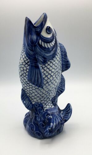 Blue & White Chinese Porcelain Open-Mouthed Carp Koi Fish Vase