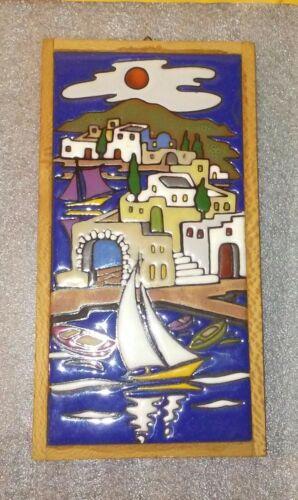 Greek Ceramic Art Tile / Delfi / Greece / Sailing Island