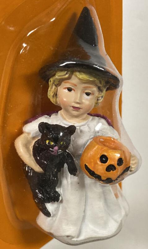 """Girl Child Kid Witch Black Cat Pumpkin Spooky Village Halloween Figurine 2.75"""""""
