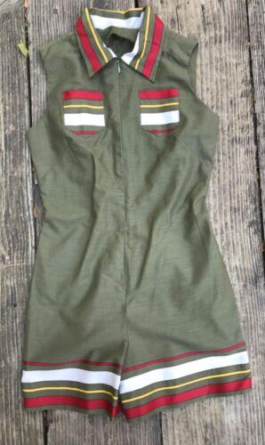 Vintage 1960's Girls Mod Green Shorts Jumpsuit Hot pants 14