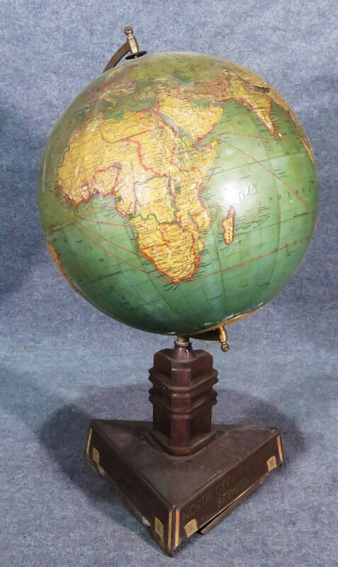 Large Early 1900s North German German Bremen World Globe Trade Route Rare