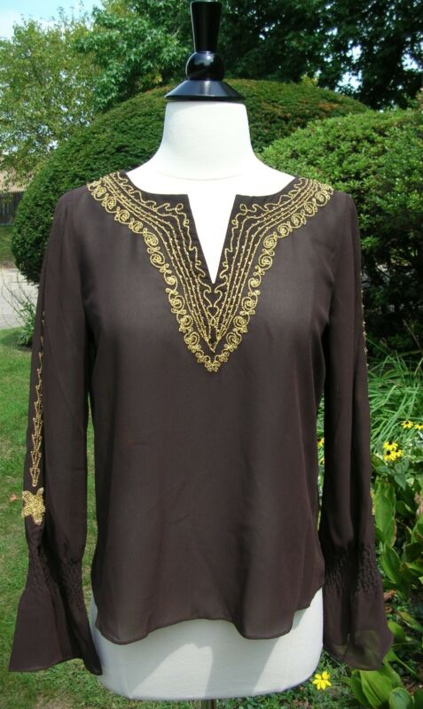 LOU LOU Dark Brown Beaded Long Sleeve V Neck TUNIC NWT - Made in Italy