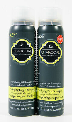 2 Hask Charcoal w/ Citrus Purifying Dry Shampoo 1.7oz travel - oil absorption