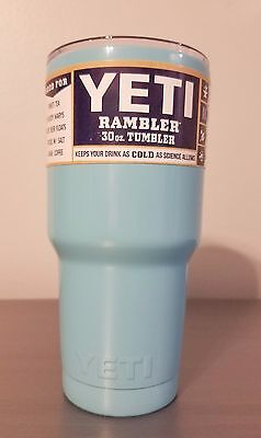 YETI Rambler Tumbler 30oz Light Blue Powder Stainless Steel Cup Coated NEW USA