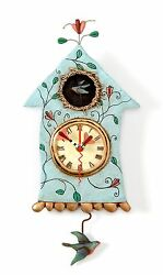 Allen Designs Fly Bird Clock New Original Packaging in Birdhouse Pendulum Wall