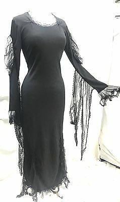 Raven Halloween Gothic Mortician Dress Pointed Net Fringes On Sleeves Size M/12