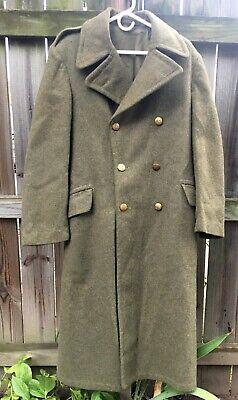 Vintage 1950 Korean War US Army Heavy Wool Overcoat Trench Coat