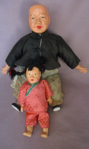 """2 Vintage Composition & Cloth Chinese Dolls 5 3/4"""" & 9"""""""