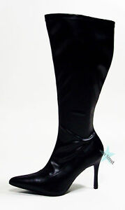 wide calf pointy toe knee high stylish plus size boots ebay