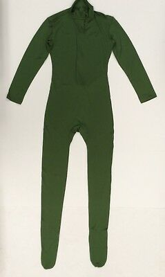 New VSVO Adult High Neck Zip Up One Piece Footed Unitard Full Body Green Small