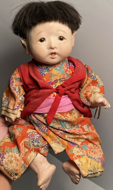 "Early 13"" Traditional Japanese Ichimatsu Glass Eye Baby Doll 1920s-30s Fantastic"