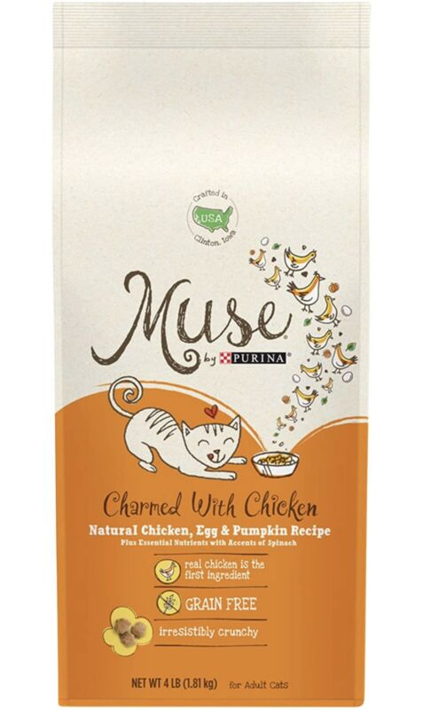 Muse Purina Grain Free Dry Fat Food Chicken Egg & Pumpkin Recipe 4lb Bag