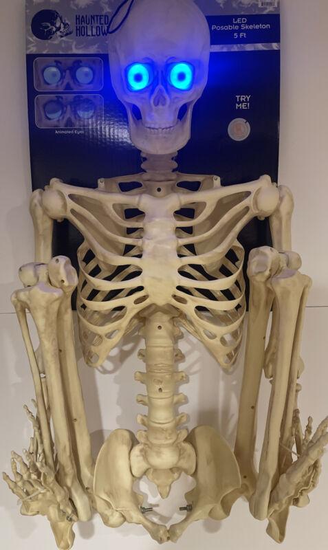 5 ft Skeleton W/Blue LED Animated Eyes Halloween Prop BRAND NEW! 1 DAY HANDLING!