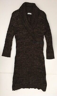 Calvin Klein  Sweater Dress Faux Wrap Buckle Cable Knit Brown/Black  Sz Large L