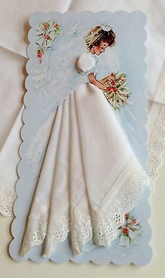 Precious New Bridal Handkerchief Card ~ LuRay Wedding Hankie Card